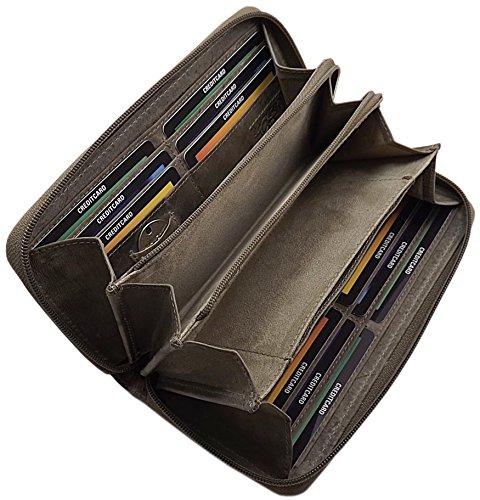 Große Vollleder Damen Geldbörse mit wunderschönem Lianen Muster in Hoch Tief Prägung Reißverschluss rundherum in Braun oder Taupe inkl. Nähset (Taupe) (5 Geldbörse)