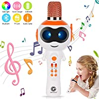 Genround Girls Karaoke Microphone, Kids Gifts Toys Microphone with Speaker, Music Player and Magic Voice, Support Bluetooth, Audio Cable, TF Card, Compatible Android, iOS, PC for Singing Home Party