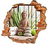 wandmotiv24 3D-Wandsticker Buddha und Sauna Aufkleber Mauerdurchbruch M0962 Design 02 - klein