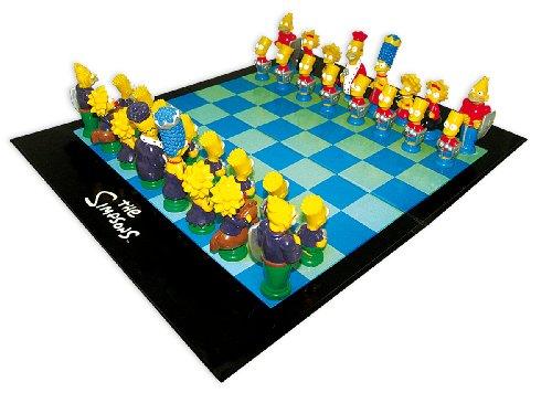 The Simpsons Schachspiel mit 3-D Schachfiguren (43 x 35 cm)