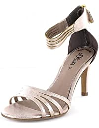 S.Oliver Sandale Damen, Gold Silber Weiß, Größe 40