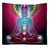 S-Chanson Indiani Yoga Arazzi de Parete Chakra Tappeto da Parete Hippie da Letto Tovaglia Dormitorio Picnic Telo Mare (Pattern 5, 150 x 130 cm)