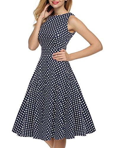 VKStar®Vintage 1950s A-Linie Klassisch Frauen Retro Drucken Blumen Audrey Hepburn Dress Abendkleid Cocktailkleid DunkelblauM -