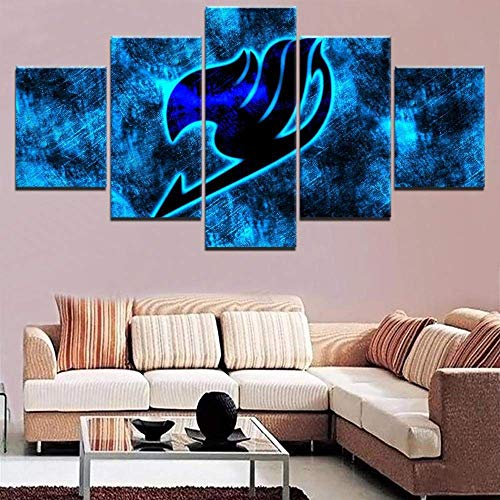 YHEGV 5 Panels HD Leinwand Kunstdruck auf Leinwand Modernes Gemälde Kunstwerk Home Decor Wohnzimmer Poster Anime Fairy Tail Logo Foto-A1 Rahmenlos, Frameless, 20x35 20x45 20x55