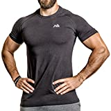 Natural Athlet Fitness T-Shirt Modal - Herren Männer Kurzarm Shirt Optimal für Fitnessstudio, Gym & Training - Passform Slim-Fit, Rundhals & Tailliert - Sport & Freizeit
