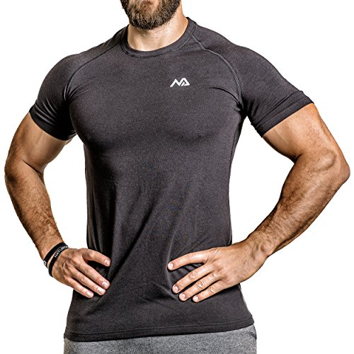 Natural Athlet Fitness T-Shirt Modal - Herren Männer Kurzarm Shirt Optimal für Fitnessstudio, Gym & Training - Passform Slim-Fit, Rundhals & Tailliert, Schwarz, Gr. L (Herren Kurze Passform Taillierte)