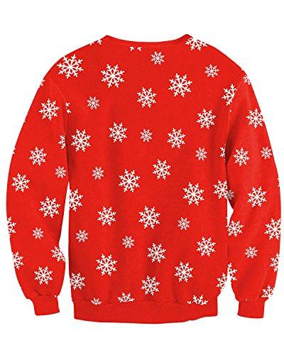 JOLIME Herren Unsiex Weihnachten Pullover Elfe Santa 3D Druck Ugly Christmas Spaß Sweatshirt A