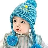 GONGZHUMAMA - Gorro Ganchillo Bebé con Forro de Pelo Invierno para Bebé de 6-24 Meses - Azul