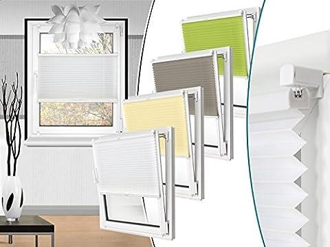 Plissee in 4 Farben & in 10 Größen - vormontiert und mit Klemmfixierung am Fensterahmen - kinderleichte 3-Step Montage, ca. 90 x 130 cm,
