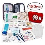LISOPO verbandtasche met 180 stuks Eerste hulp artikel voor familie, binnenruimte, Buiten Eerste hulp, draagbare verbandkasten wasseredicht en stofdicht