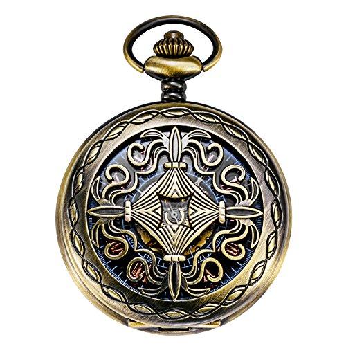 TREEWETO Retro Bronze Mechanische Taschenuhr Kupfer Gehäuse Design Skelett Römische Ziffern Taschenuhren mit kette und Geschenkbox
