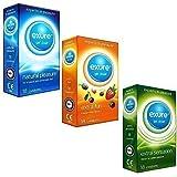 Préservatifs Exure 3 packs - fruité, aromatisé et naturel - 18 par paquet (54 préservatifs) - 100% testé électroniquement, certifié CE0123
