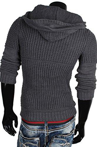 EMIMAY pull à capuche pour homme en tricot taille s à xXL Gris - Anthracite