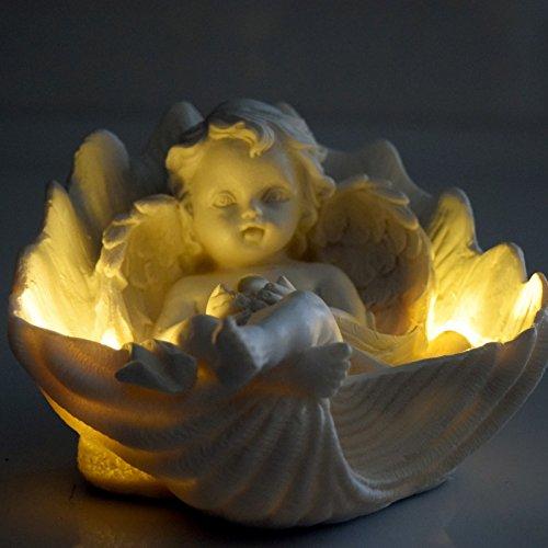 (737) Liegender Polyresin Engel mit Perle in Muschel mit LED Beleuchtung ((737) sitzend)