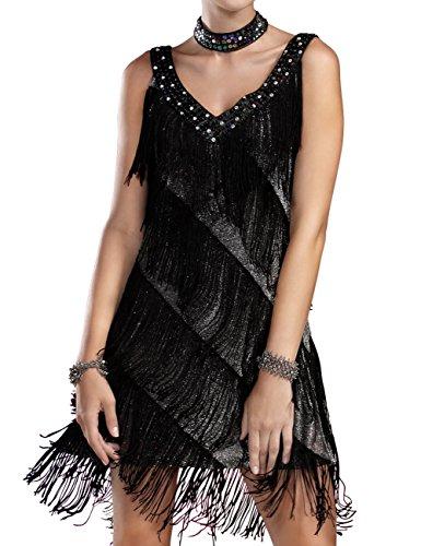 Kayamiya Damen Perlen Tiefer V 1920er Jahre Gatsby Fransen Flapper Kostüm Kleid L/XL Silber Schwarz