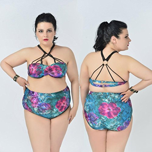 Damen Badeanzug Jamicy® rauen Big Code Hohe Taille Druck Hanging Neck Straps Bikini Bademode Grün