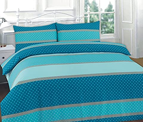 CLICKTOSTYLE EASTON TEAL COLOUR KING SIZE DUVET SET QUILT COVER PILLOW CASES BEDDING SET