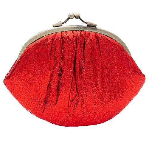 ea554f7001463 Becksöndergaard Geldbörse Damen Granny weiches Aalleder klassische Form  Klippverschluss Rainbow Kollektion Rumba Red Metallic sattes Rot -  100007-820