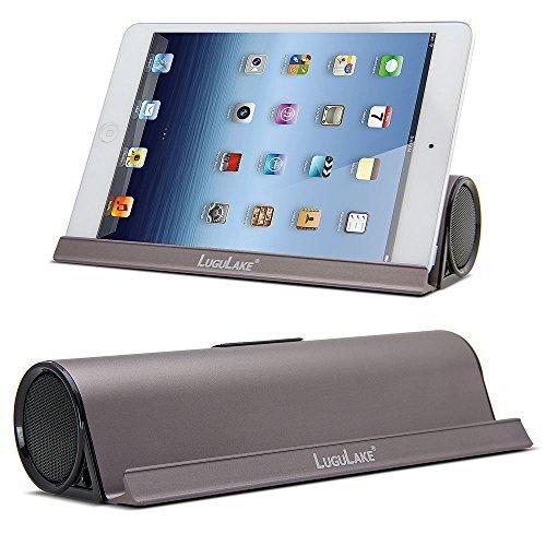 LuguLake 6W Altavoz Portátil Bluetooth con el soporte del muelle, estéreo inalámbrico Bluetooth 4.0 Altavoces 3.5 mm incorporado Aux Puerto para iPhone 7, Tablets, PC - marrón