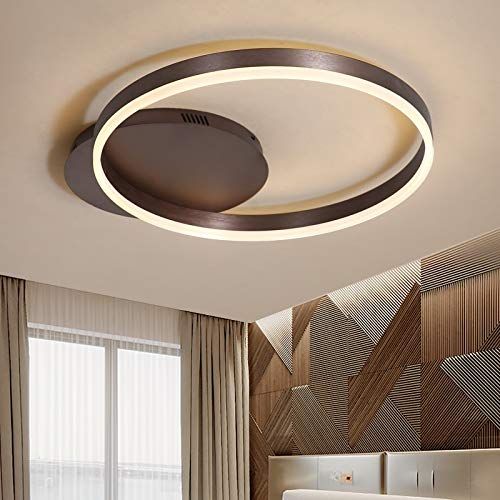 Wandlicht Lampe Anillos marrones modernas lámparas de araña de Techo para sala de estar habitación de Estudio hogar Dez acrílico lámparas de araña führte, Farbe de pantalla: Braun, Tamaño: L90xW80CM,