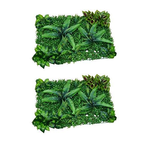 MagiDeal 2pcs Gazon Artificiel Pelouse Synthetique avec Plante Scindapsus Feuille Décoration Maison Balcon - #1