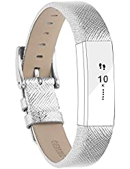 Fitbit Alta Armband and Alta HR Armband, Echt Leder Uhrenarmband Lederarmband Erstatzband Sport Armband für Fitbit Alta und Alta HR Unisex Fitness Armband