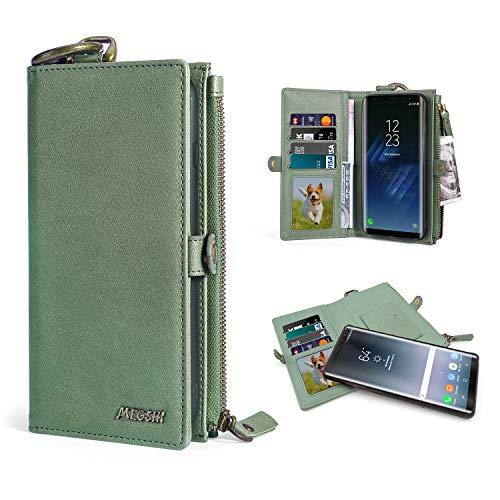 Megshi Multifunktions-Geldbörse kompatibel mit Samsung Galaxy S8 Plus, Reißverschluss, Geldbörse, Lederetui, Handtasche mit Abnehmbarer magnetischer PC-Hülle [Kreditkartenschlitz]