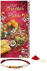 Aheli Rakhi Wooden Beads Pearl with Twisted Ropes Rakhi for Men with Greeting Card and Roli Chawal Tilak (Red) (ARCB16)