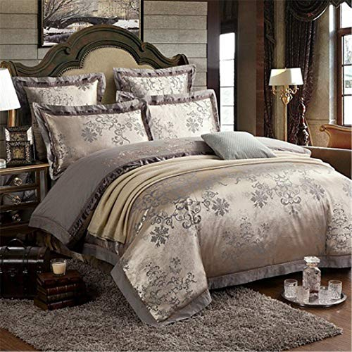 JSHECOVER Sliver Gold-Silk Satin Jacquard Bettbezug Bettwäsche Set Königin King Size Stickerei Spannbettlaken Set Color 9 King 6Pcs Bed Sheet Style