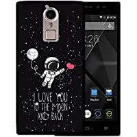 Funda Doogee F5, WoowCase [ Doogee F5 ] Funda Silicona Gel Flexible Astronauta Corazón - I Love To the Moon And Back, Carcasa Case TPU Silicona - Negro