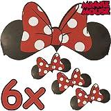 6x Minnie Mouse Orejas + Lazo & # x2503; para niños y adultos & # x2503; Disney & # x2503; deben convertirse en Minnie Mouse & # x2714;