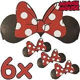 6 x Minnie Mouse Ohren + Schleife ┃ für Kinder und Erwachsene ┃ Disney ┃ Werden Sie zur Minni Maus ✔