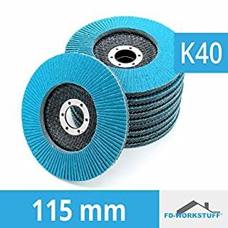 Pack of 10 Flap Discs, 115 mm Grit: 40, Abrasive Mop Discs, Stainless Steel Flap Wheel
