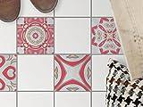 creatisto Fliesen-Deko   Dekorations-Bodenfliesenfolie Badfolie Küchen-Fliesen Bodendeko   15x15 cm Muster Ornament Strawberry Cheese - 4 Stück