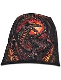 Spiral Bonnet pour homme en coton Motif Dragon Furnace Noir