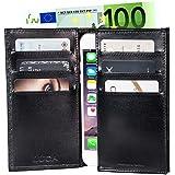 LUCA iPhone SE 5 / 5S / 5C Etui Carbon Handmade in Germany - Tasche klappbar - die Alternative zur Geldbörse