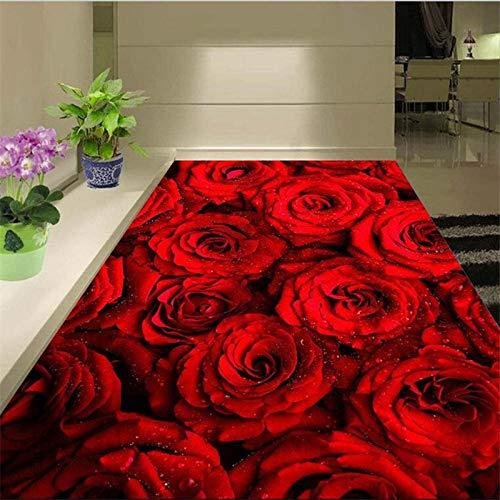 Fototapete 3D Effekt Benutzerdefinierte Boden 3D Selbstklebende Romantische Rote Rose Blume Wohnzimmer 3D Schlafzimmer Einkaufszentrum Bodenfliesen 430X300Cm