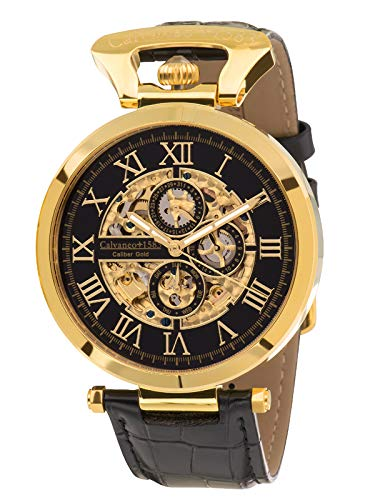 Calvaneo 1583 Automatic Caliber Men's Quartz Watch with Gold Dial Analogue Display and Black Leather 107936
