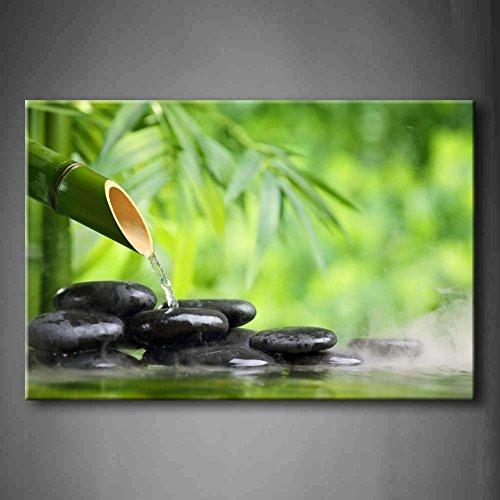 Verde terme ancora vita con bambù fontana e zen pietra in acqua pittura di arte della parete la stampa su tela di canapa botanico quadri d'illustrazione per l'ufficio domestico decorazione moderna