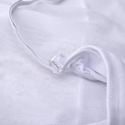 Damen Reizwäsche Dessous, Dreiteilig Hansee Spitzen Unterwäsche Strapsen Negligee V-Ausschnitt Erotik Lingerie mit Tanga Nachtwäsche Transparente Babydoll mit Strumpfhaltergürtel(Weiß,XL) - 7