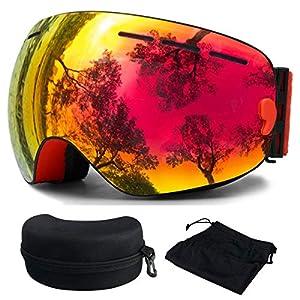 OTBBA Skibrille, Ski Snowboardbrille Brillentr?ger Schneebrille Verspiegelt- Für Skibrillen mit Anti-Nebel UV-Schutz, Winter Schnee Sport, Austauschbar Sph?rische Doppelte Linse für M?nner Frauen