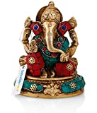 Collectible India Brass Hindu God Ganesha Idol Handmade Religious Statue