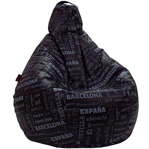 Loconfort pouf pera città puffs, poli-piel, nero, xl