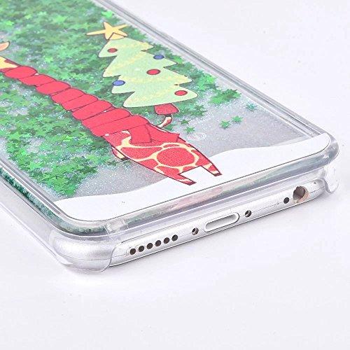 Coque iPhone 6 Plus Transparent Glitter Liquide 3D Bling Étoiles Paillettes Thème de Noël Etui pour iPhone 6 Plus / 6S Plus Housse Silicone PC Plastique Rigide Shell Housse de Protection Bumper Case C Girafe