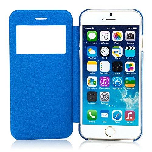 Saxonia Tasche iPhone 6 Plus / iPhone 6S Plus Hülle Case Schutzhülle Flip View Cover mit Fenster Gelb Blau