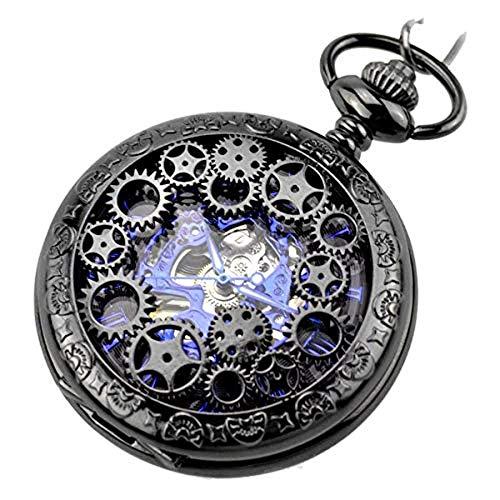 HSXQQL Taschenuhr Klassische antike Half Hunter Metal Hollow Skeleton Handaufzug mechanische Taschenuhr mit Kette, schwarz