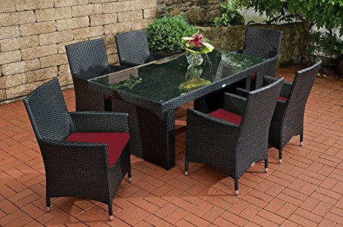 Gartenmöbel Set, Sitzgarnitur Avignon, rubin-rot / schwarz, Polyrattan-Aluminium-Gestell, Gartengarnitur, Sitzgruppe