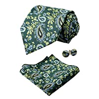Alizeal Mens Floral Woven Tie, Hanky and Cufflinks Set, Grass Green