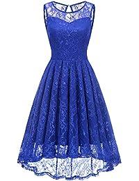 Gardenwed Damen Kleid Retro Ärmellos Kurz Brautjungfern Kleid Spitzenkleid Abendkleider CocktailKleid Partykleid