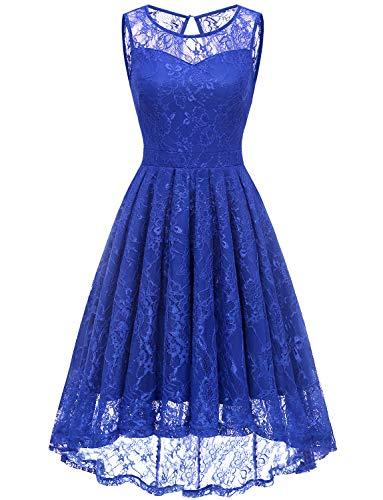 Gardenwed Damen Kleid Retro Ärmellos Kurz Brautjungfern Kleid Spitzenkleid Abendkleider CocktailKleid Partykleid Royal Blue S -